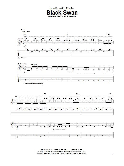Tablature guitare Black Swan de Megadeth - Tablature Guitare
