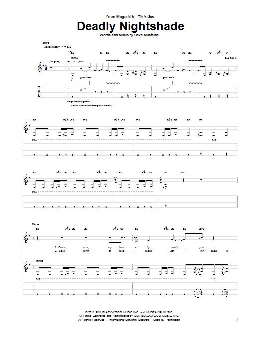 Tablature guitare Deadly Nightshade de Megadeth - Tablature Guitare