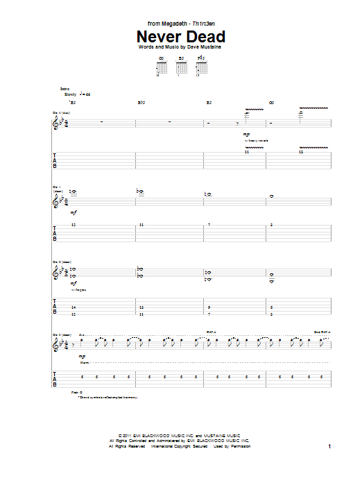 Tablature guitare Never Dead de Megadeth - Tablature Guitare