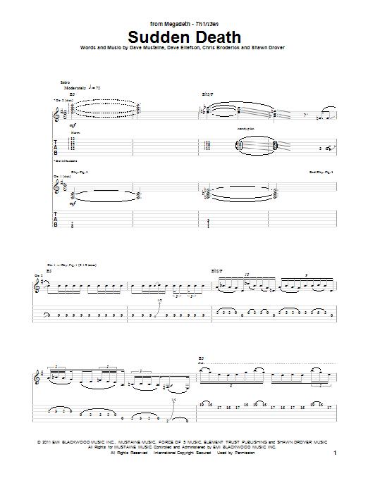 Tablature guitare Sudden Death de Megadeth - Tablature Guitare