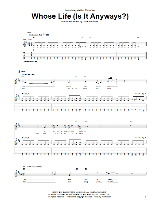 Tablature guitare Whose Life (Is It Anyways?) de Megadeth - Tablature Guitare