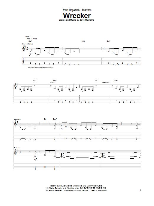 Tablature guitare Wrecker de Megadeth - Tablature Guitare