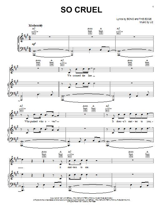 Partition piano So Cruel de U2 - Piano Voix Guitare (Mélodie Main Droite)