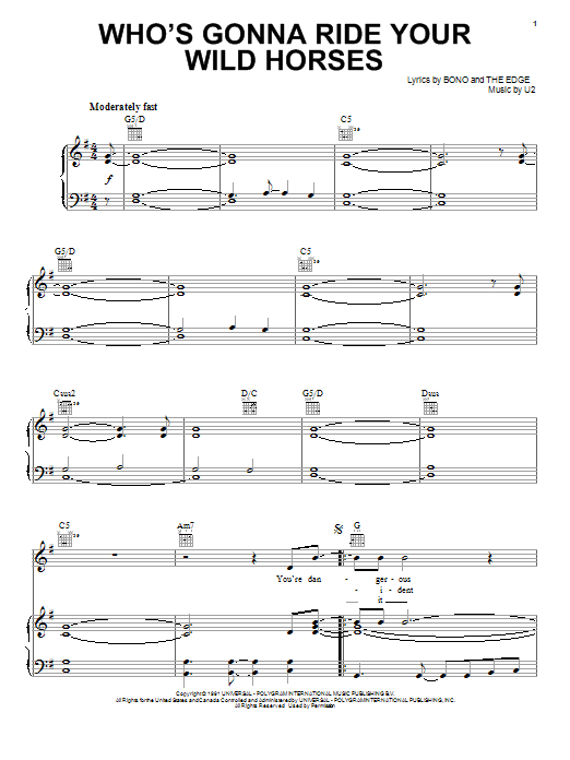 Partition piano Who's Gonna Ride Your Wild Horses de U2 - Piano Voix Guitare (Mélodie Main Droite)