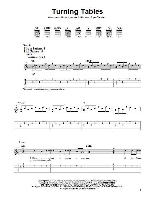 Tablature guitare Turning Tables de Adele - Tablature guitare facile