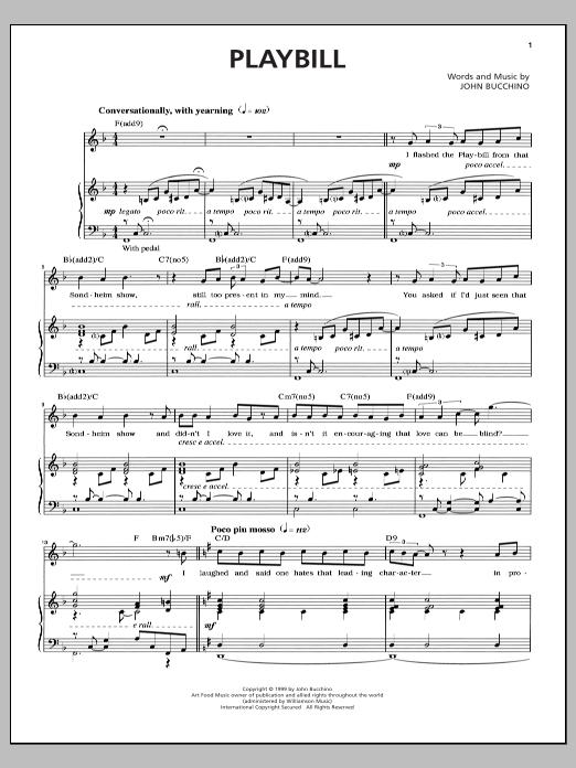 Partition piano Playbill de John Bucchino - Piano Voix