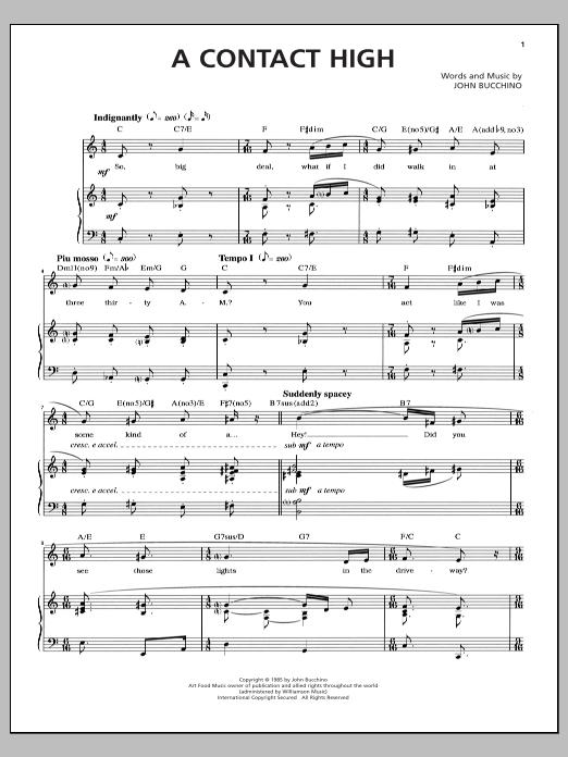 Partition piano A Contact High de John Bucchino - Piano Voix