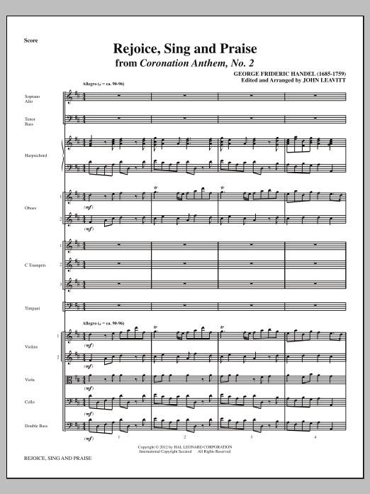Rejoice, Sing And Praise (complete set of parts) sheet music for orchestra/band (Orchestra) by John Leavitt