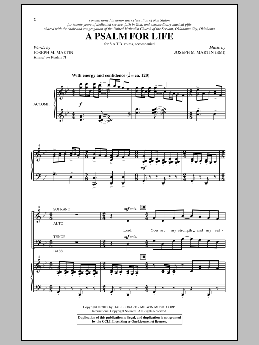 A Psalm For Life sheet music for choir and piano (SATB) by Joseph M. Martin