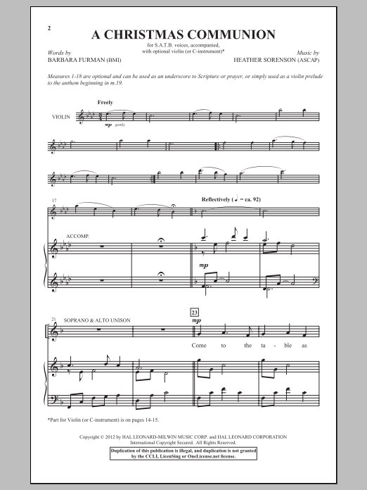 Partition chorale A Christmas Communion de Heather Sorenson - SATB