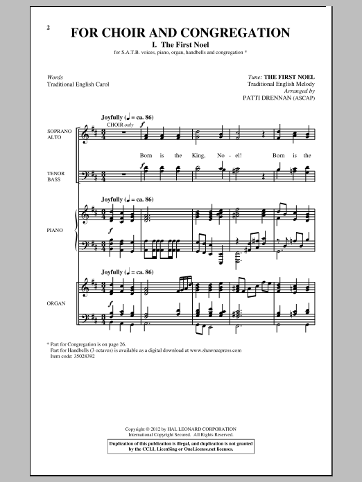 Partition chorale The First Noel de Patti Drennan - SATB
