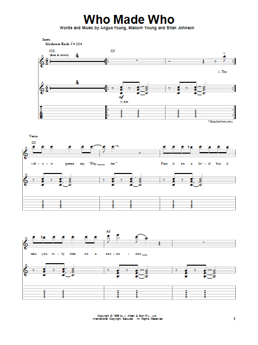 Tablature guitare Who Made Who de AC/DC - Tablature Guitare