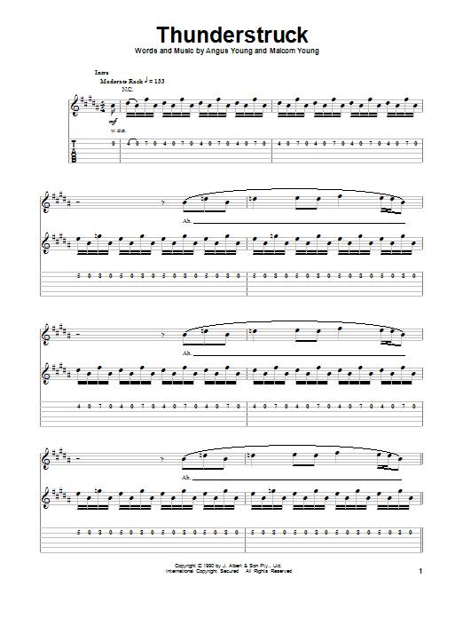 Tablature guitare Thunderstruck de AC/DC - Tablature Guitare