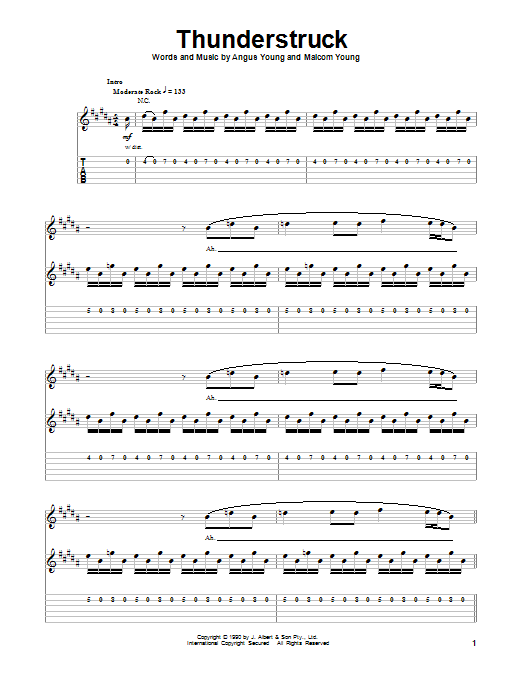 Thunderstruck b... Ac Dc Thunderstruck Guitar Tabs
