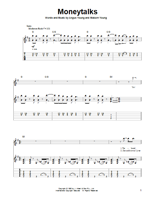 Tablature guitare Moneytalks de AC/DC - Tablature Guitare