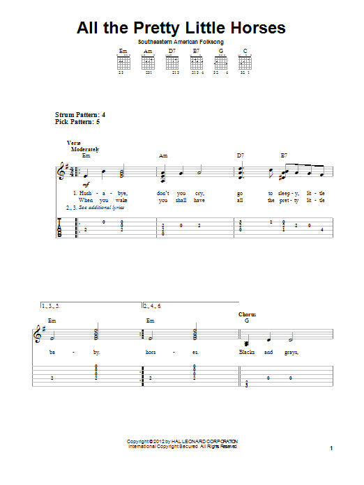 Tablature guitare All The Pretty Little Horses de Traditional - Tablature guitare facile