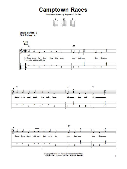 Tablature guitare Camptown Races de Stephen Foster - Tablature guitare facile