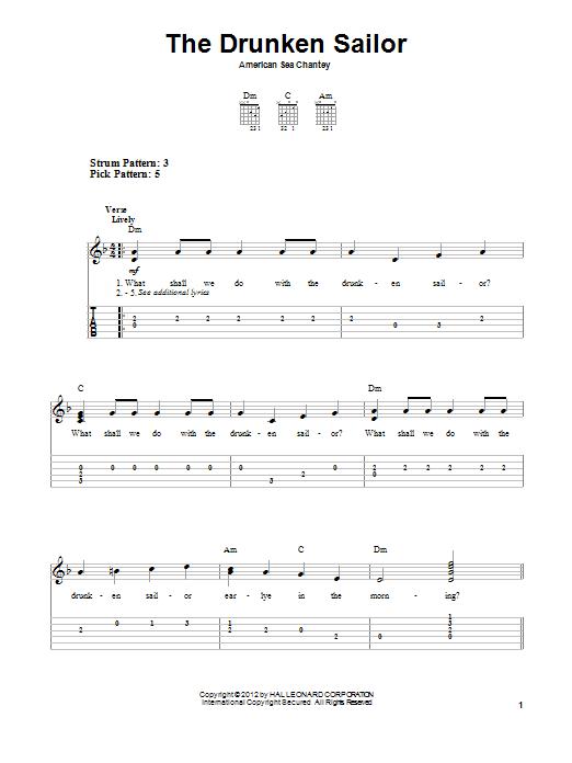 Tablature guitare The Drunken Sailor de Traditional - Tablature guitare facile