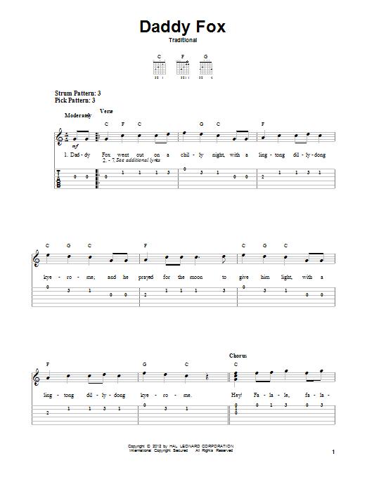 Tablature guitare Daddy Fox de Traditional - Tablature guitare facile