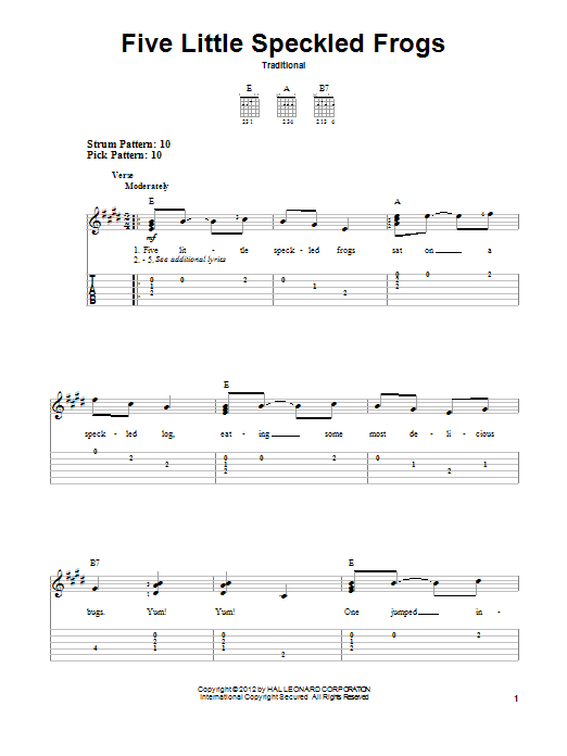 Tablature guitare Five Little Speckled Frogs de Traditional - Tablature guitare facile