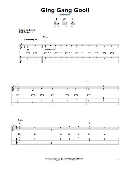 Tablature guitare Ging Gang Gooli de Traditional - Tablature guitare facile