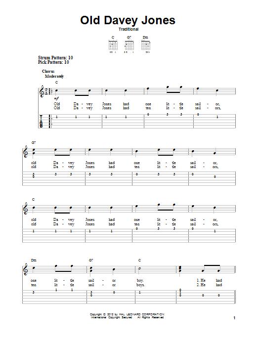 Tablature guitare Old Davey Jones de Traditional - Tablature guitare facile