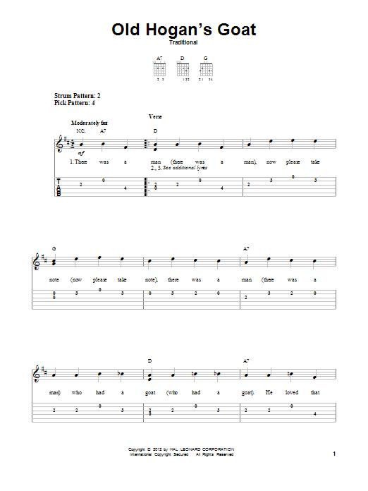 Tablature guitare Old Hogan's Goat de Traditional - Tablature guitare facile