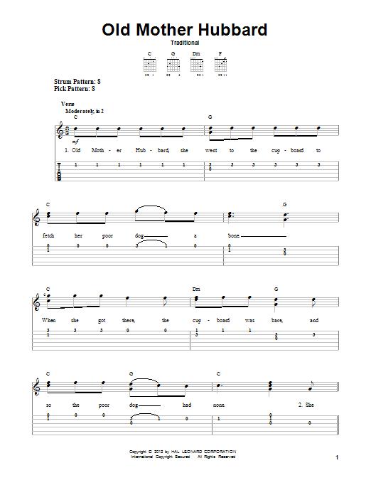 Tablature guitare Old Mother Hubbard de Traditional - Tablature guitare facile