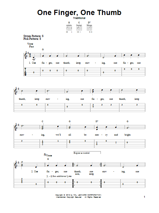 Tablature guitare One Finger, One Thumb de Traditional - Tablature guitare facile