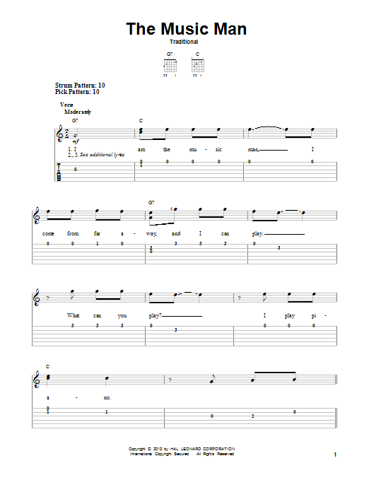 Tablature guitare The Music Man de Traditional - Tablature guitare facile