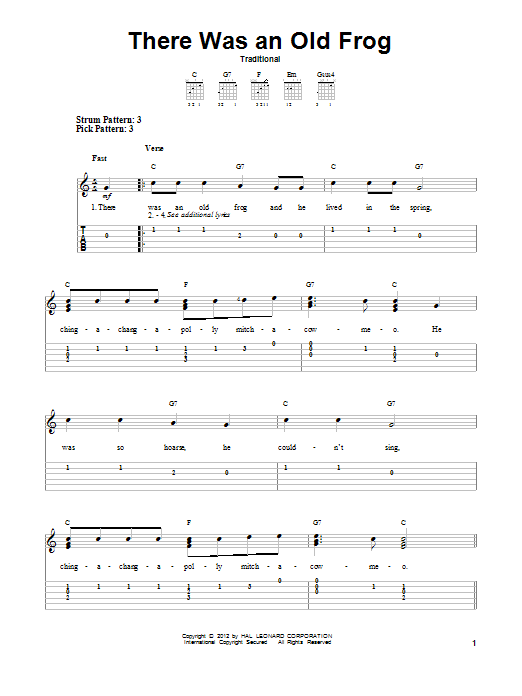Tablature guitare There Was An Old Frog de Traditional - Tablature guitare facile