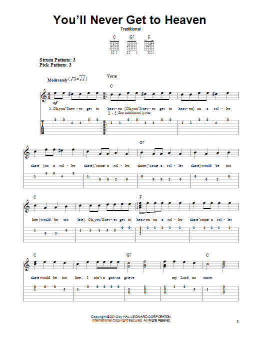 Tablature guitare You'll Never Get To Heaven de Traditional - Tablature guitare facile