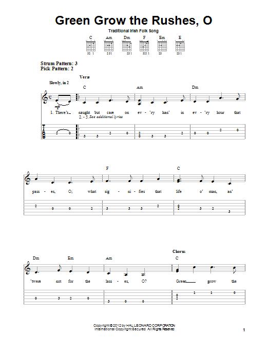Tablature guitare Green Grow The Rushes, O de Irish Folksong - Tablature guitare facile