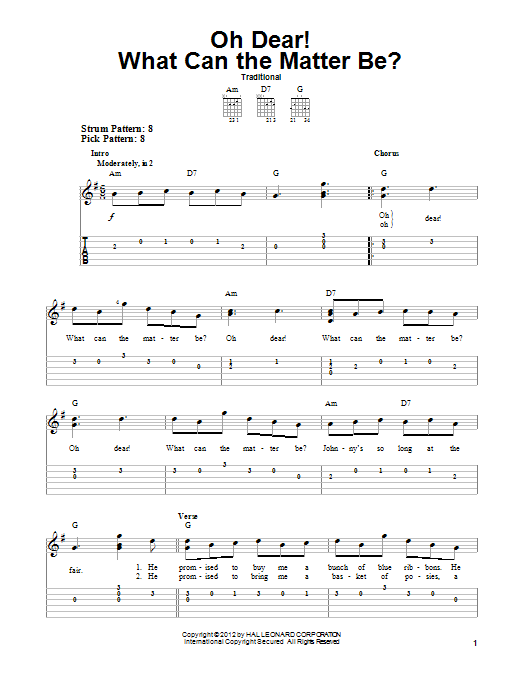 Tablature guitare Oh Dear! What Can The Matter Be? de Traditional - Tablature guitare facile
