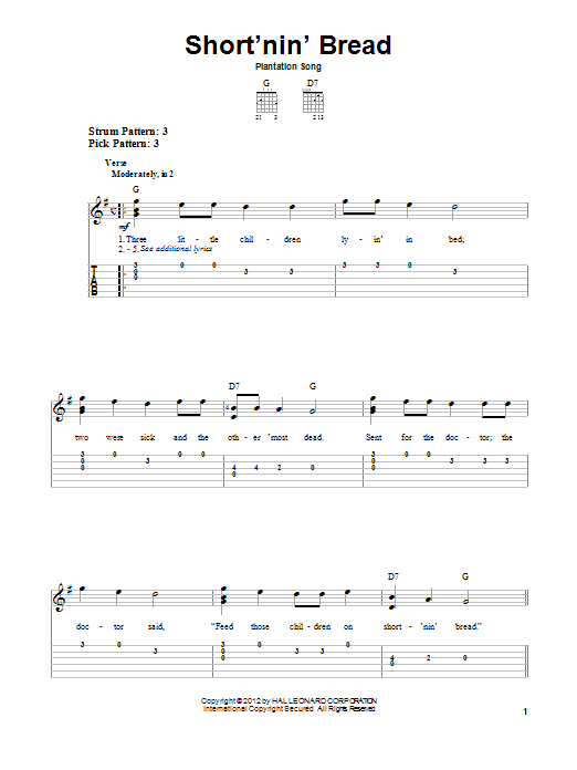 Tablature guitare Short'nin' Bread de Plantation Song - Tablature guitare facile