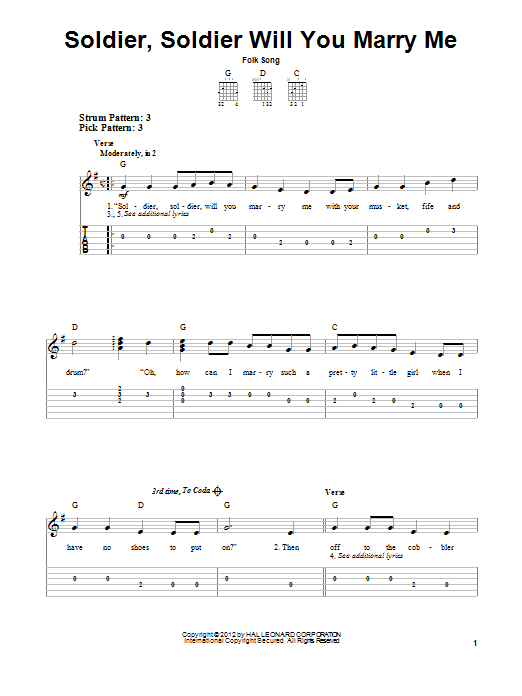 Tablature guitare Soldier, Soldier Will You Marry Me de Folk Song - Tablature guitare facile