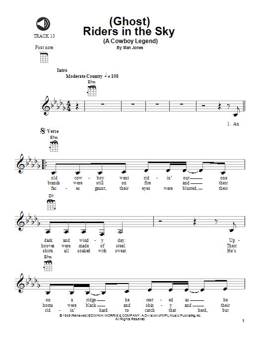 Tablature guitare (Ghost) Riders In The Sky (A Cowboy Legend) de Johnny Cash - Ukulele