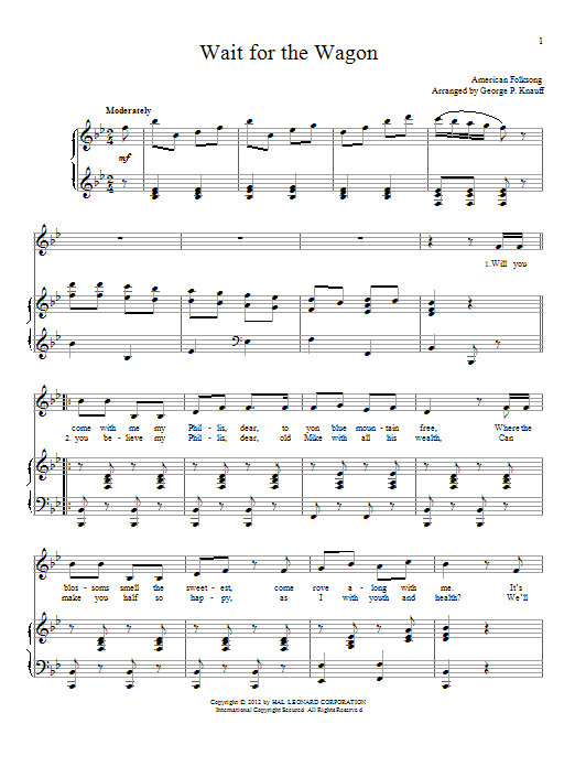 Partition piano Wait For The Wagon de American Folksong - Piano Voix