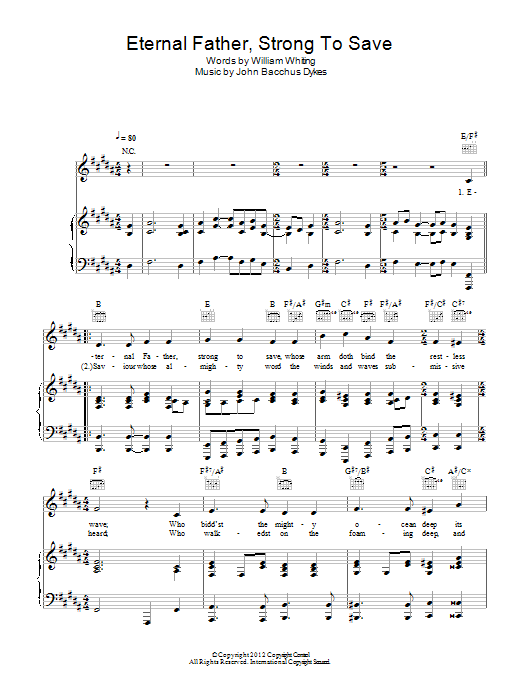 Eternal Father, Strong To Save sheet music for voice, piano or guitar by John Bacchus Dykes