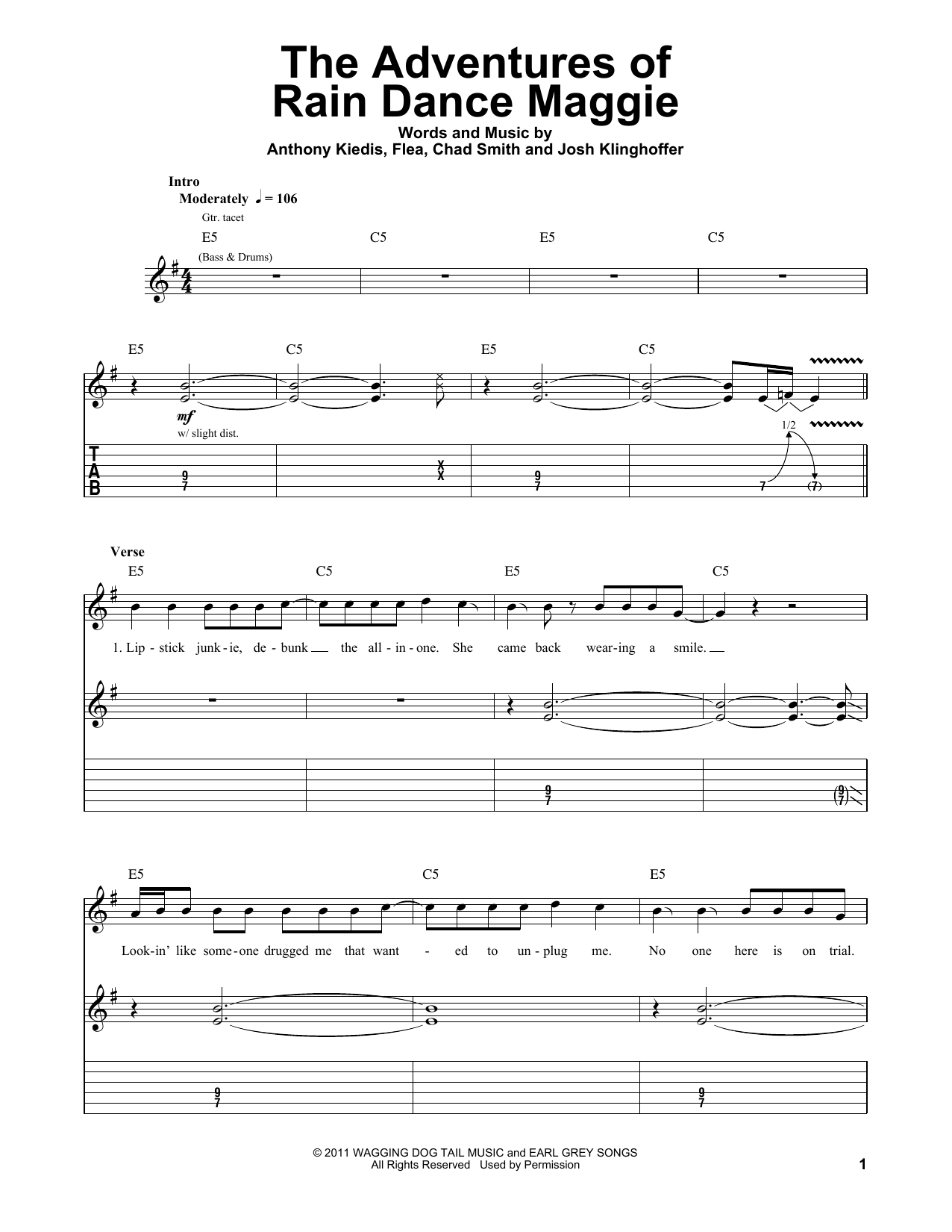 Tablature guitare The Adventures Of Rain Dance Maggie de Red Hot Chili Peppers - Tablature Guitare