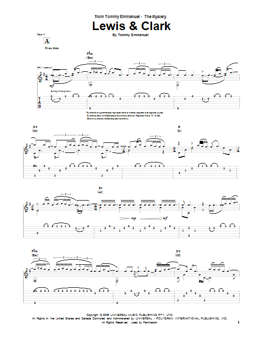 Lewis and Clark sheet music for guitar solo (tablature) by Tommy Emmanuel