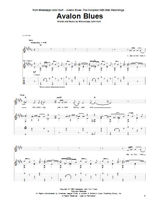 Tablature guitare Avalon Blues de Mississippi John Hurt - Tablature Guitare