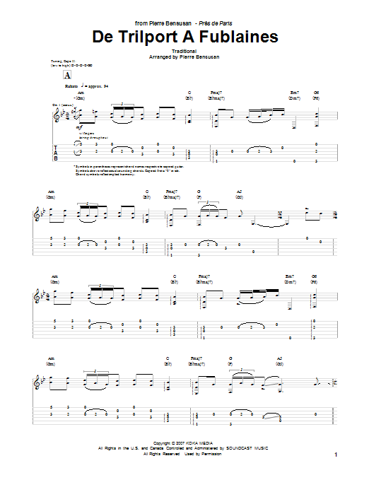 Tablature guitare De Trilport A Fublaines de Pierre Bensusan - Tablature Guitare