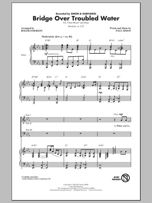 Partition chorale Bridge Over Troubled Water de Simon & Garfunkel - 3 voix mixtes