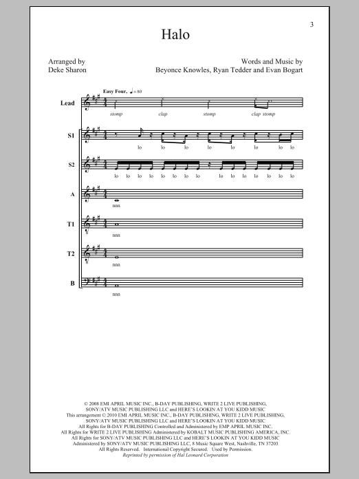 Partition chorale Halo de Deke Sharon - SATB