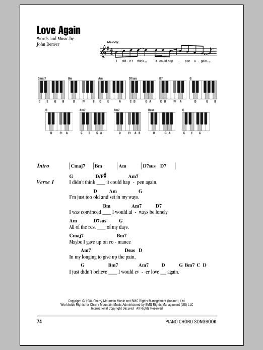 John Denver Love Again Sheet Music At Stantons Sheet Music