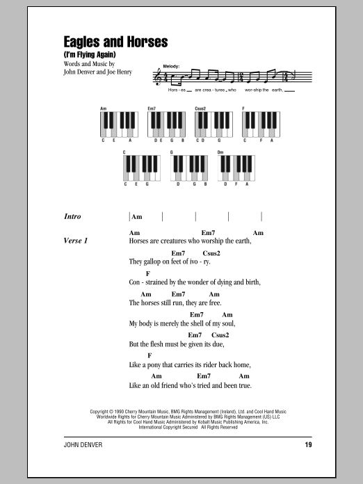 Eagles And Horses (I'm Flying Again) sheet music for piano solo (chords, lyrics, melody) by Joe Henry