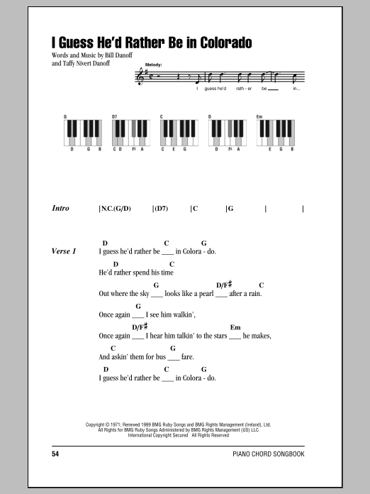 I Guess He'd Rather Be In Colorado sheet music for piano solo (chords, lyrics, melody) by Taffy Nivert Danoff
