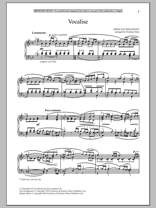 Partition piano Vocalise, Op. 24, No. 14 de Sergei Rachmaninoff - Piano Solo
