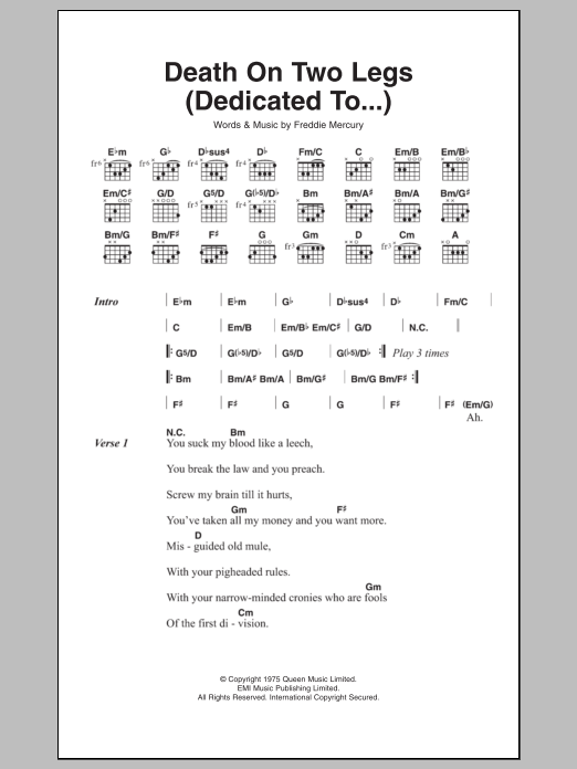 Death On Two Legs (Dedicated To...) sheet music for guitar solo (chords, lyrics, melody) by Frederick Mercury